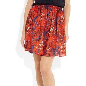 Carven Poppy Print Cotton Voile Mini Skirt